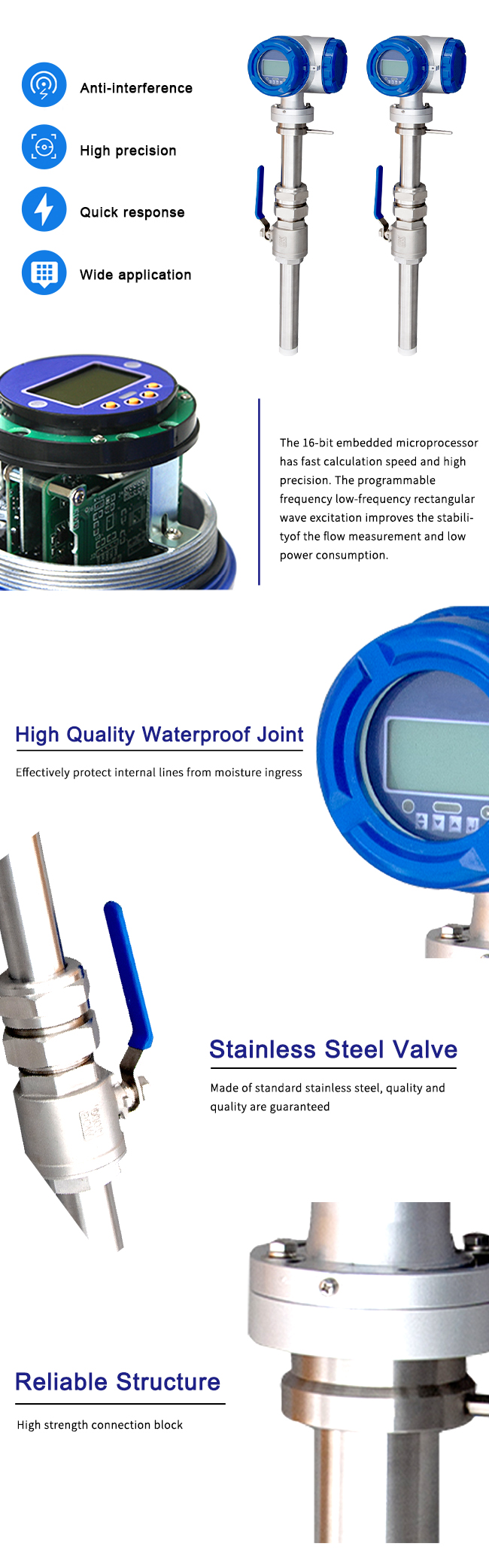 Insertion Type Electromagnetic Flow Meter Multiple Media Compatible 1