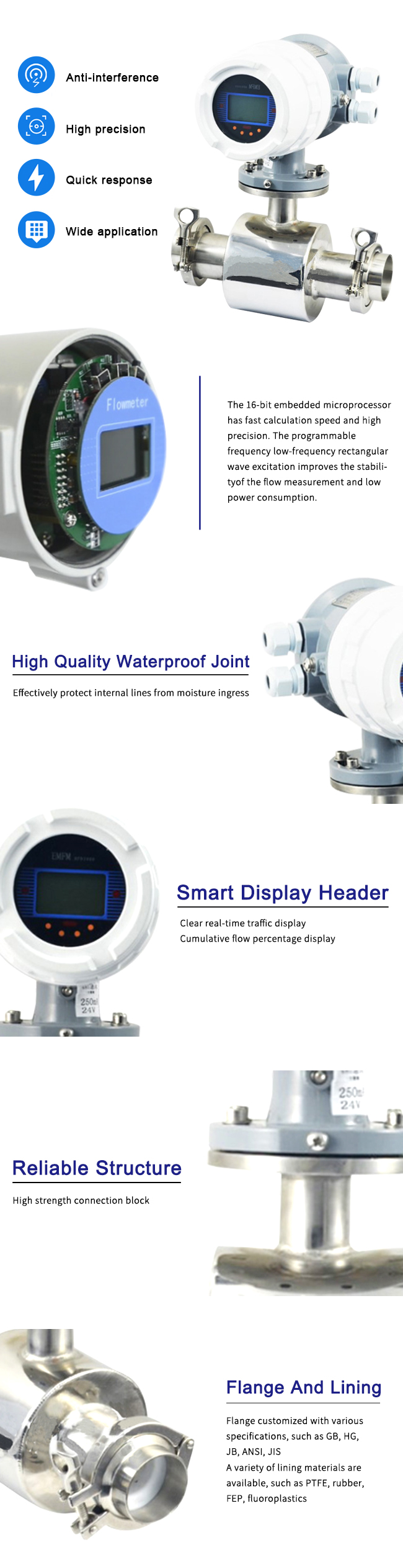 Clamp Type Electromagnetic Flow Meter Conductive Liquid Medium With High Precision 1